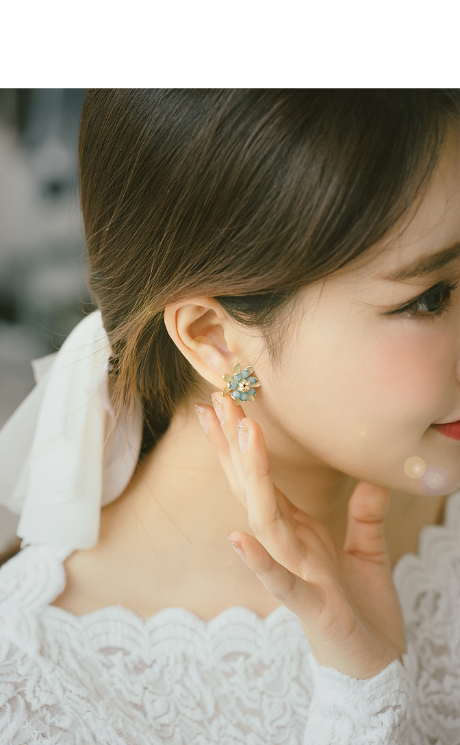 [ 4xtyle ] [SILVER] LOVE HAWAII EARRING