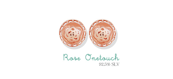 [ 4xtyle ] [SILVER] ROSE ONE TOUCH EARRING(12MM)