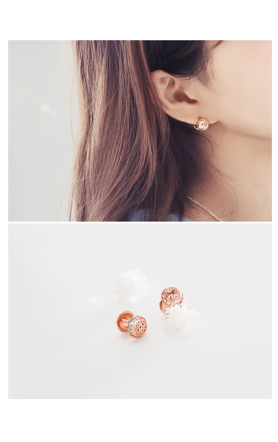 [ 4xtyle ] [SILVER] ROSE ONE TOUCH EARRING(14MM)