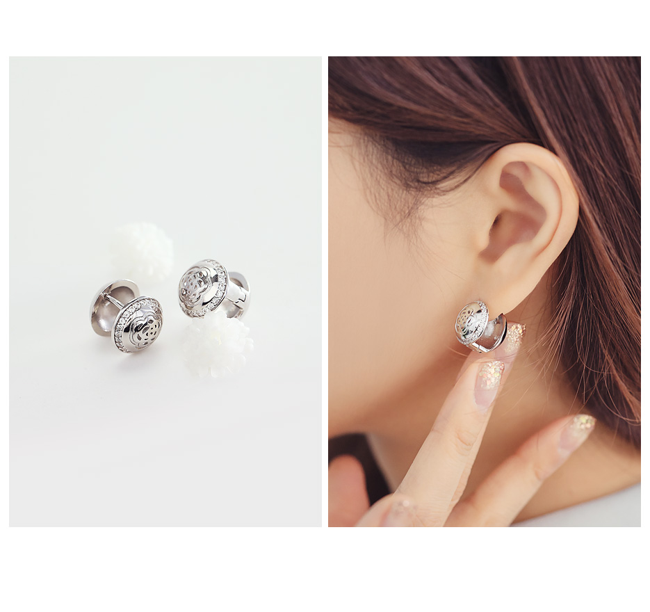 [ 4xtyle ] [SILVER] ROSE ONE TOUCH EARRING(10MM)