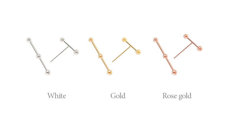 [ 4xtyle ] [SILVER] MINI BALL STICK EARRING(GOLD/ROSEGOLD)