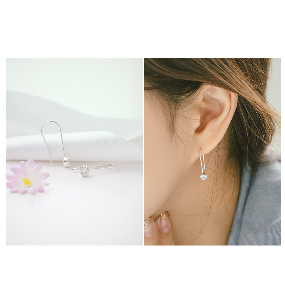 [ 4xtyle ] [SILVER] SIMPLY LINE EARRING