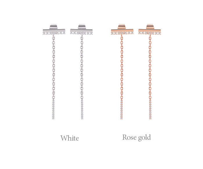 [ 4xtyle ] [SILVER] BLING BLING LONG EARRING