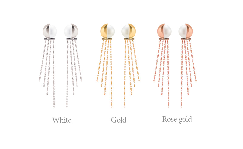 [ 4xtyle ] [SILVER]CEIRA PEARL CHAIN EARRING(WHITE/GOLD)