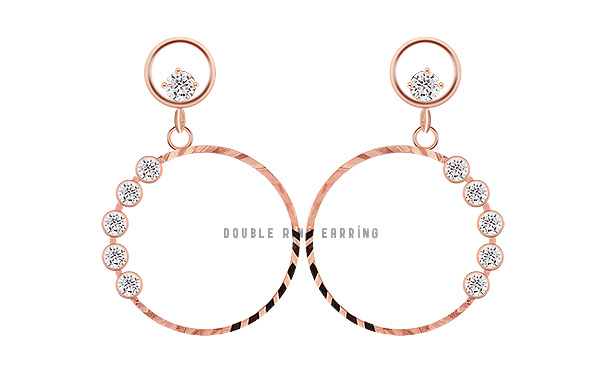 [ 4xtyle ] [SILVER] DOUBLE RING EARRING
