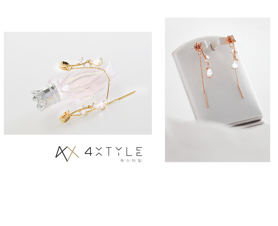 [ 4xtyle ] [SILVER]CATCH ME LEAF EARRING(ROSEGOLD)