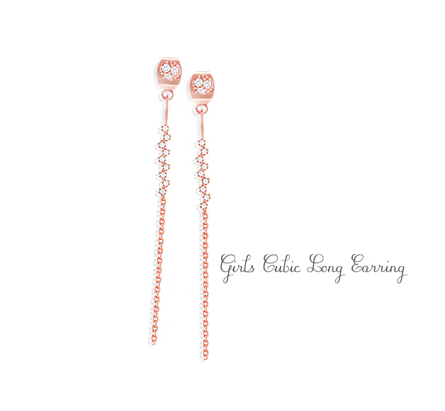 [ 4xtyle ] [SILVER]GIRLS CUBIC LONG EARRING