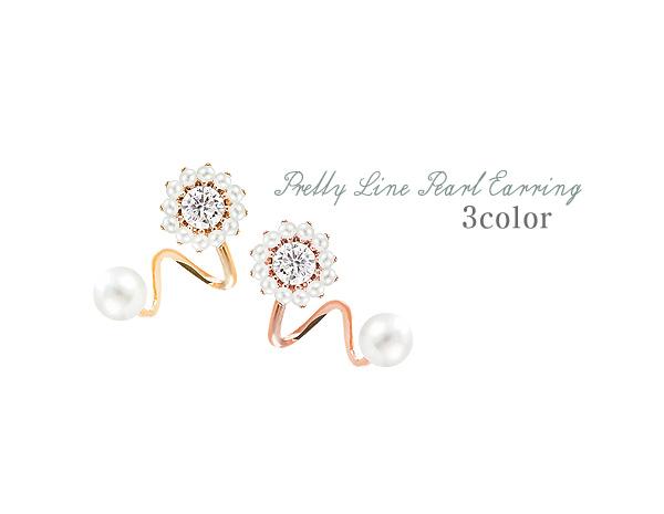 [ 4xtyle ] [银]漂亮的线珍珠耳环