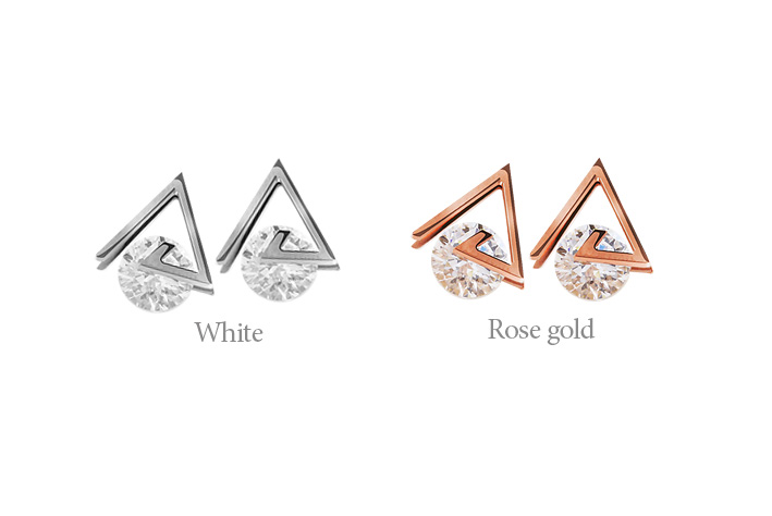 [ 4xtyle ] REINA TRIANGLE EARRING(WHITE)