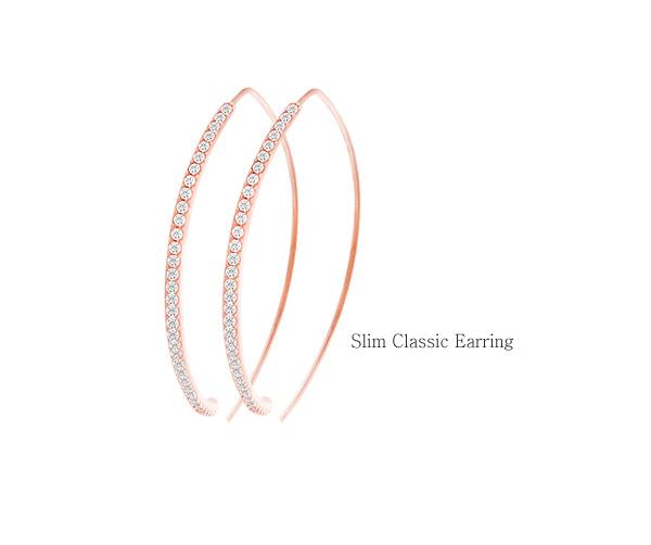 [ 4xtyle ] [SILVER] SLIM CLASSIC EARRING