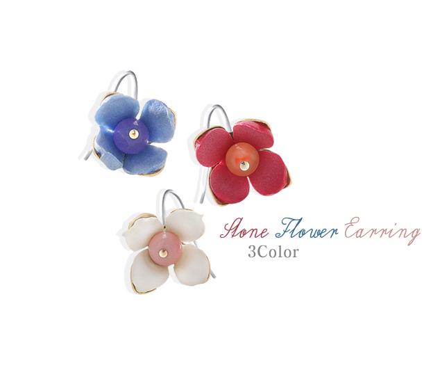 [ 4xtyle ] [HANDMADE] STONE FLOWER EARRING