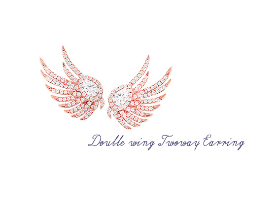 [ 4xtyle ] [silver post] double wing twoway earrings