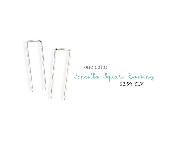 [ 4xtyle ] [silver] censia square earrings