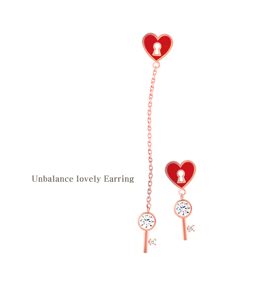 [ 4xtyle ] [silver post] unbalanced lovely earrings