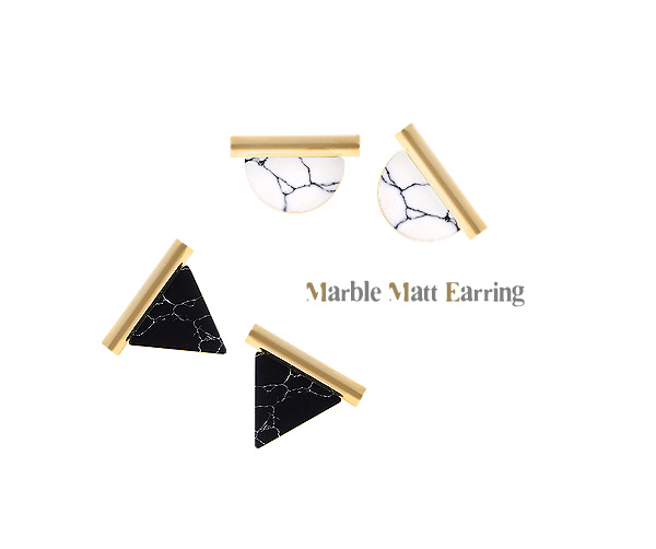 [ 4xtyle ] Marble Matt Earring