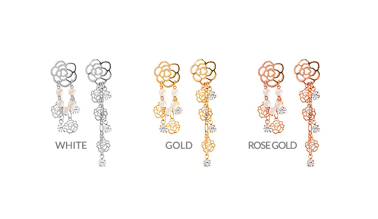 [ 4xtyle ] [SILVER] Rose Chain Earring