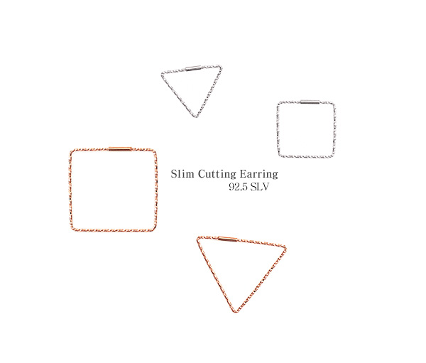 [ 4xtyle ] [4xstyle][silver] slim cutting earring
