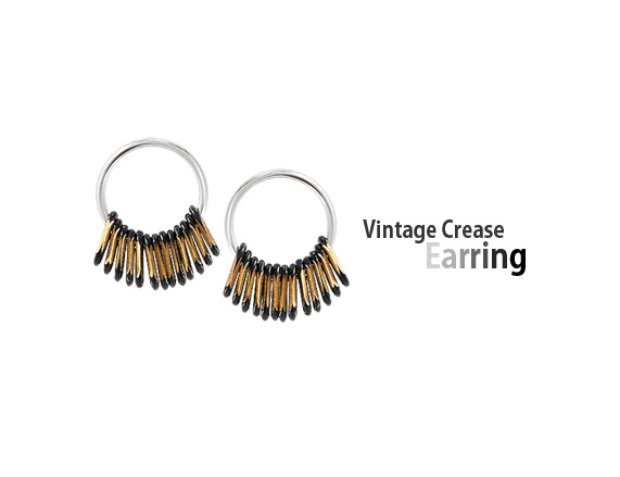 [ 4xtyle ] [SILVER] Vintage Crease Earring