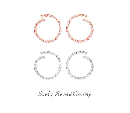 [ 4xtyle ] [4xtyle] [Silver Post] Lucky Round Earrings (Rose Gold)