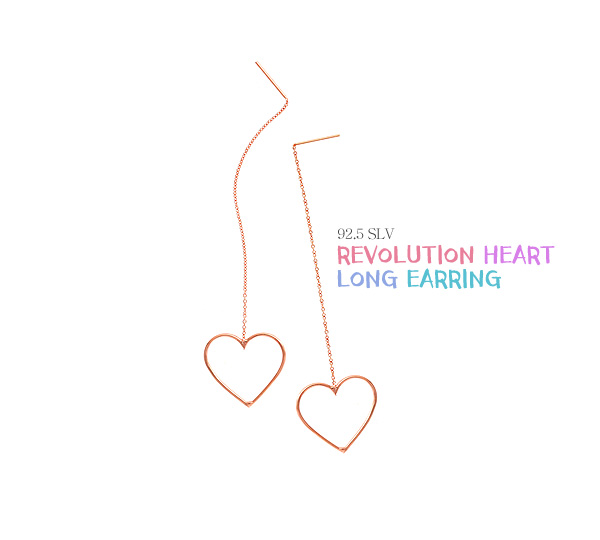 [ 4xtyle ] [4xtyle] Revolution Heart Long Earrings (White/Small)