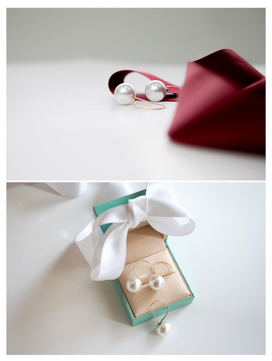 [ 4xtyle ] D形珍珠耳环、3种颜色