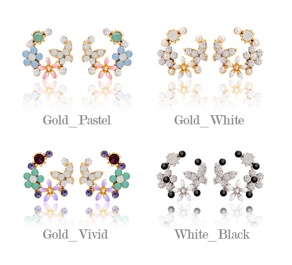 [ 4xtyle ] Round Flower Garden Earring, 4 Colors