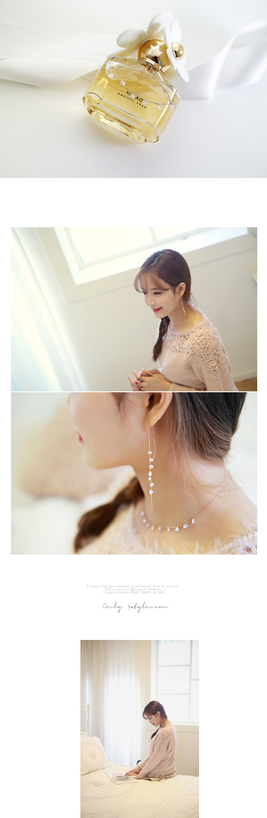 [ 4xtyle ] Crystal Bolero Silve Necklace, 2 Colors