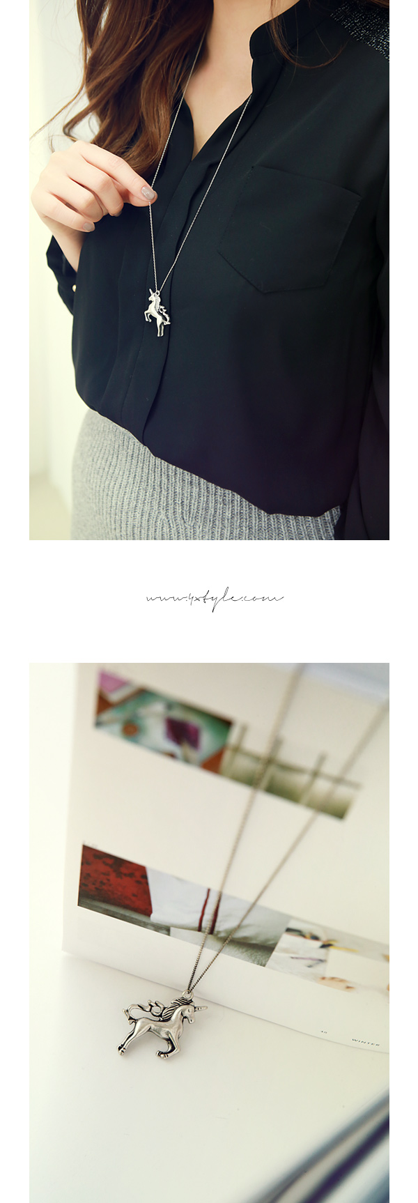 [ 4xtyle ] 独角兽长的项链,一种颜色