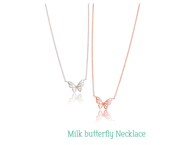 [ 4xtyle ] [SILVER] MILK BUTTERFLY NECKLACE(ROSEGOLD)