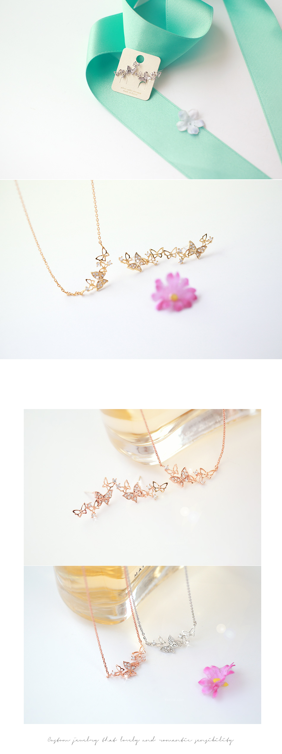 [ 4xtyle ] HONEY GARDEN NECKLACE (WHITEGOLD)
