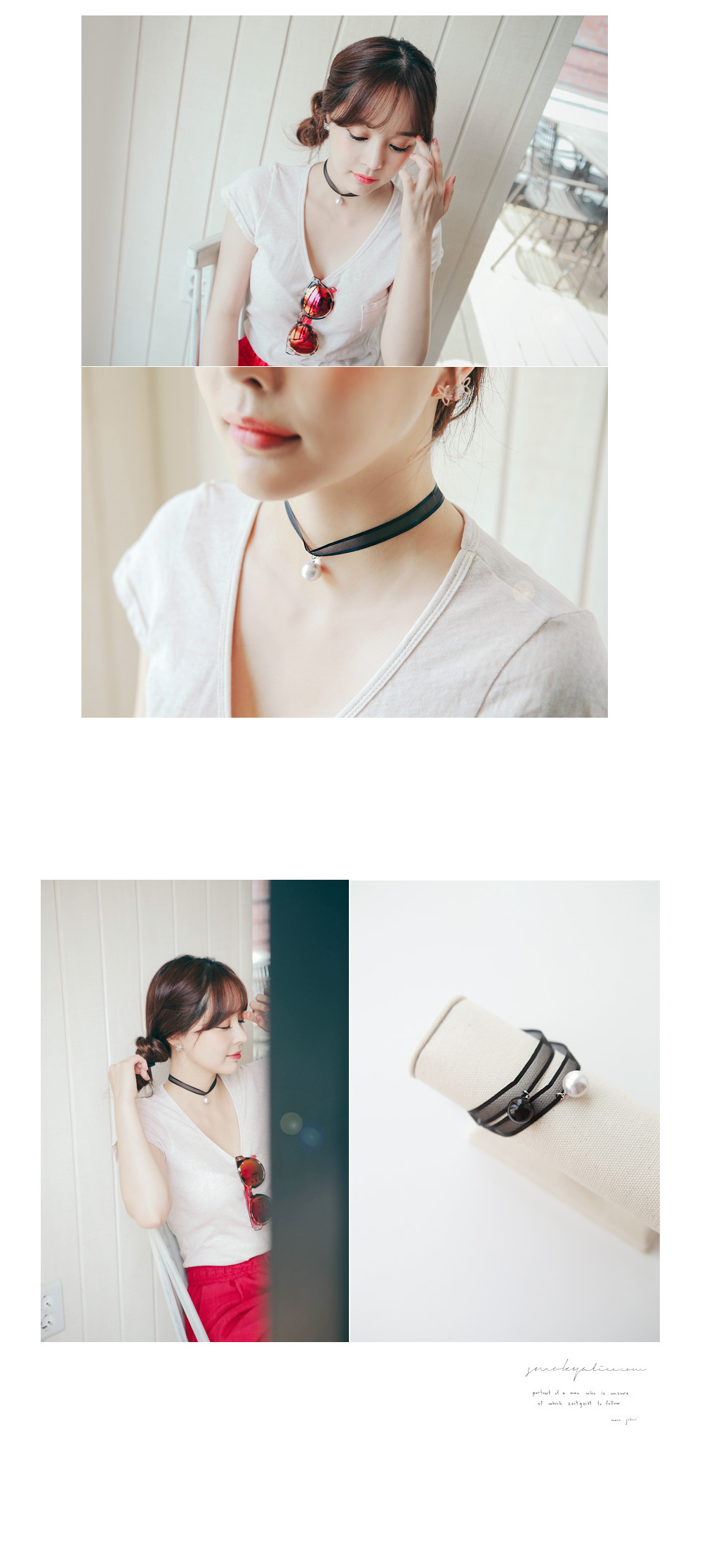 [ 4xtyle ] Ribbon Swan Necklace, 2 Colors