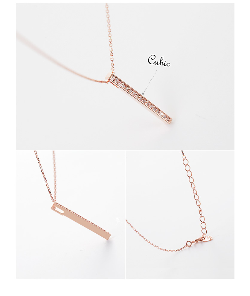 [ 4xtyle ] Sharp Stick Silver Necklace, 3 Colors