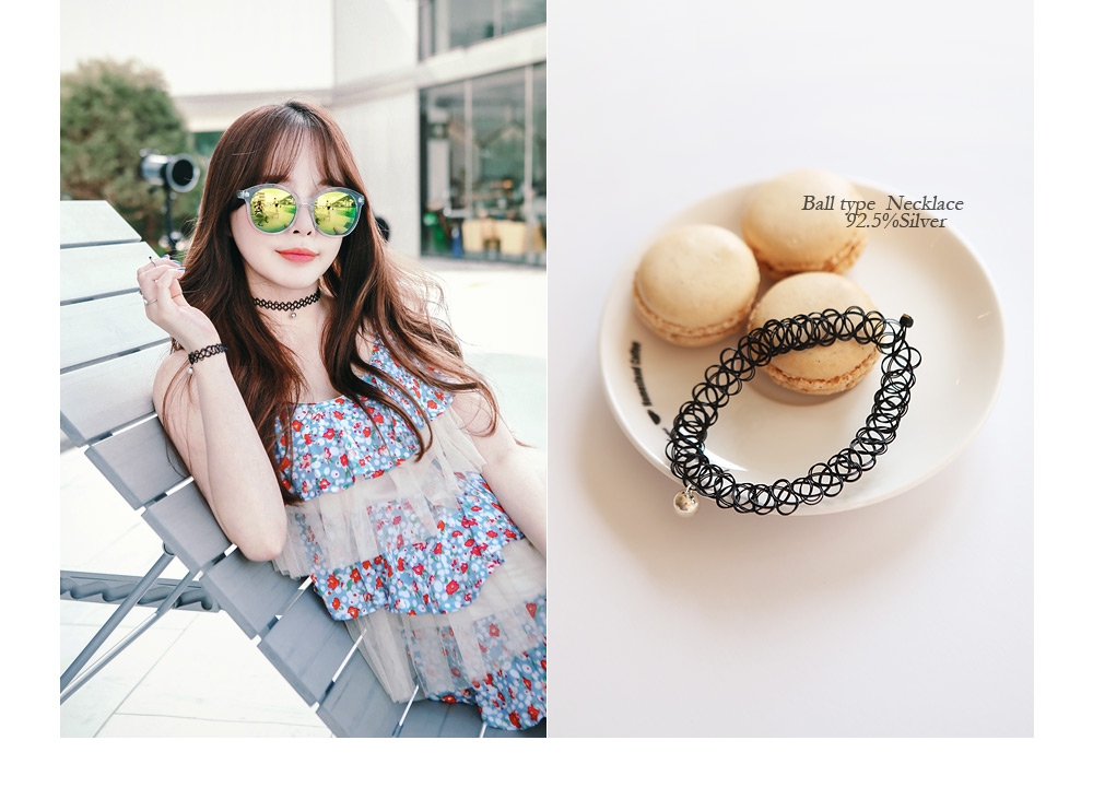 [ 4xtyle ] [SILVER] TATTOO CHOKER NECKLACE (SILVER BALL)