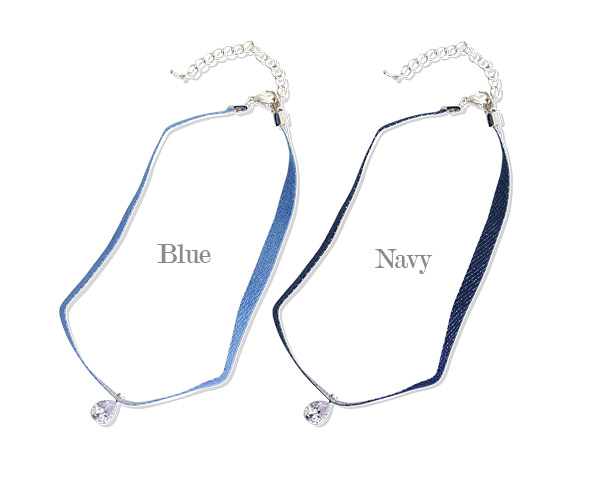 [ 4xtyle ] Denim Choker Necklace, 2 Colors