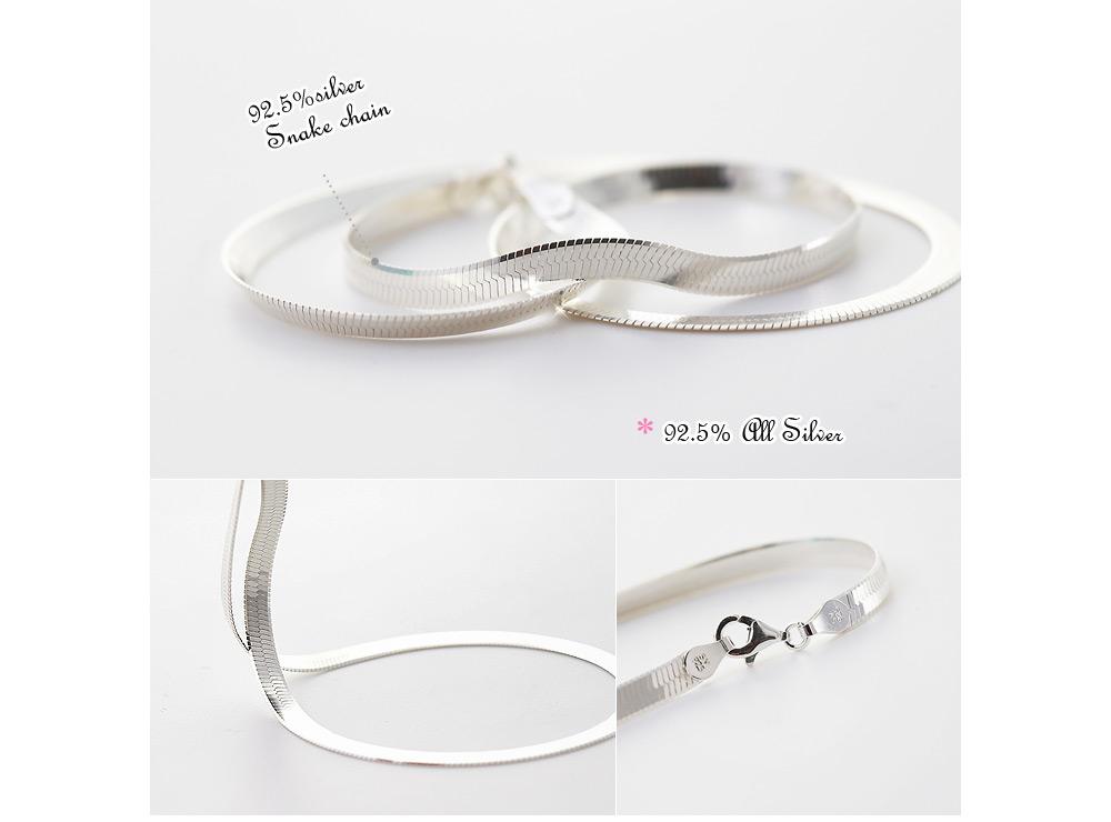 [ 4xtyle ] [银] 4MM 蛇链项链 42(厘米)