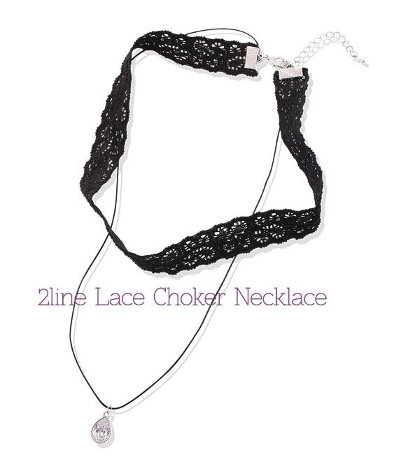 [ 4xtyle ] 第2行的蕾丝环颈链,3色
