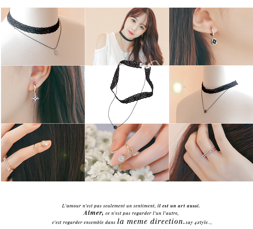 [ 4xtyle ] 2line Lace Choker Necklace, 3 Colors