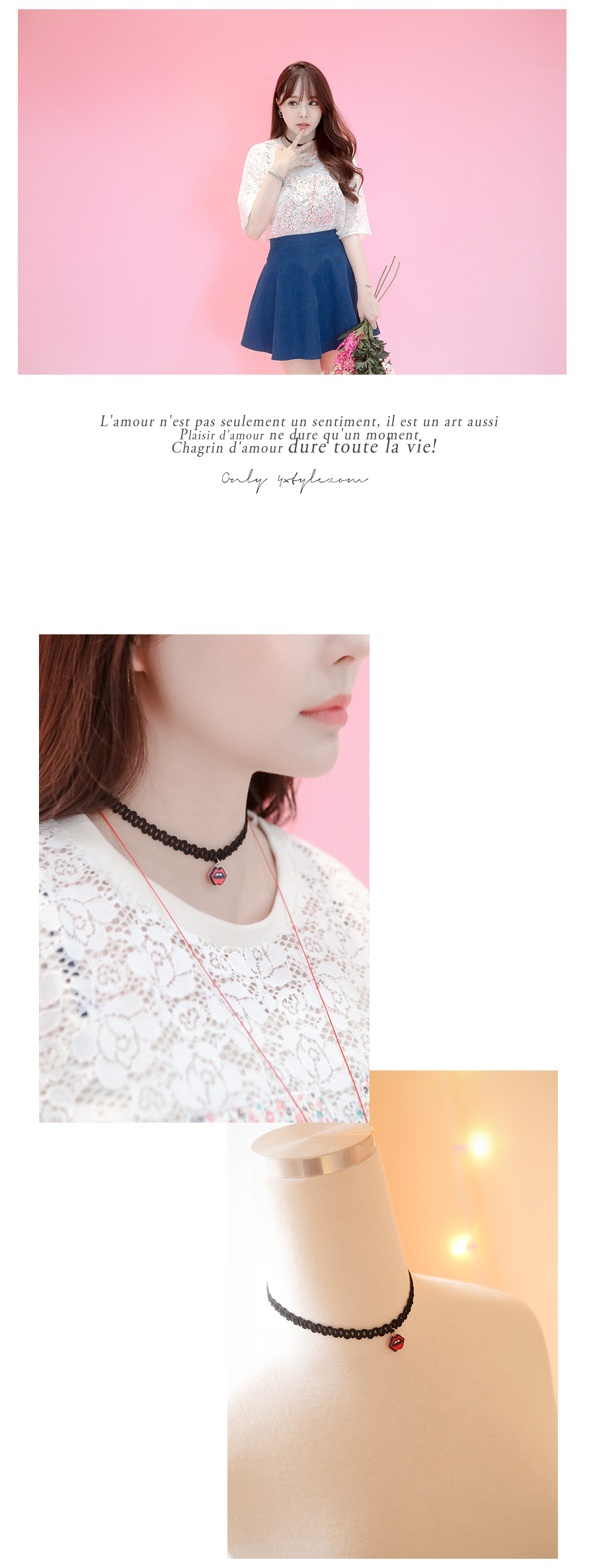 [ 4xtyle ] Choker Levhe Necklace, une couleur