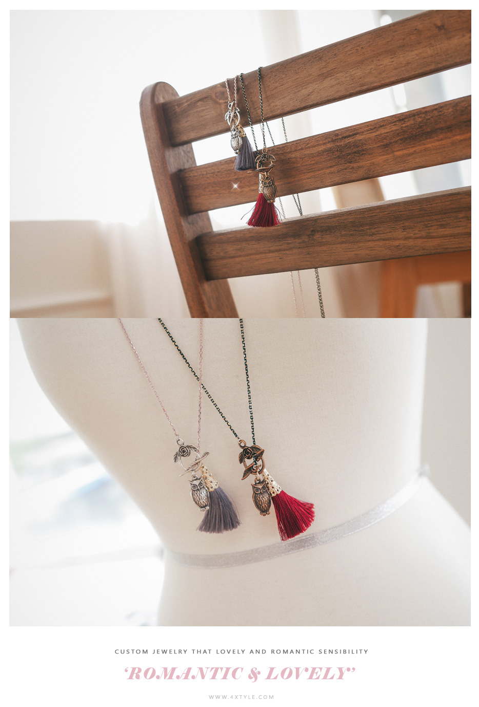 [ 4xtyle ] Owl N Tassel Long Necklace, 2 Colors
