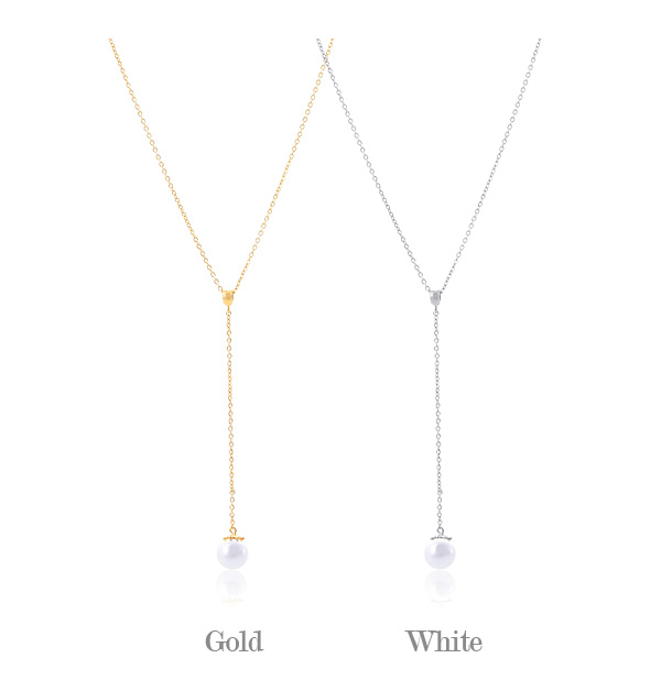 [ 4xtyle ] Polling Pearl Necklace, 2 Colors