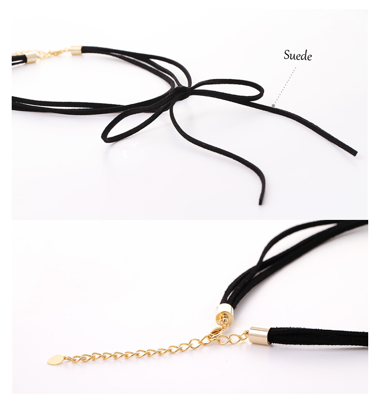 [ 4xtyle ] Suede Ribbon Necklace, One Color