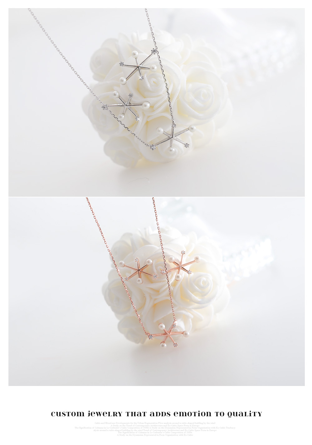 [ 4xtyle ] [SILVER] BUBBLE SNOW FLOWER NECKLACE (ROSEGOLD)