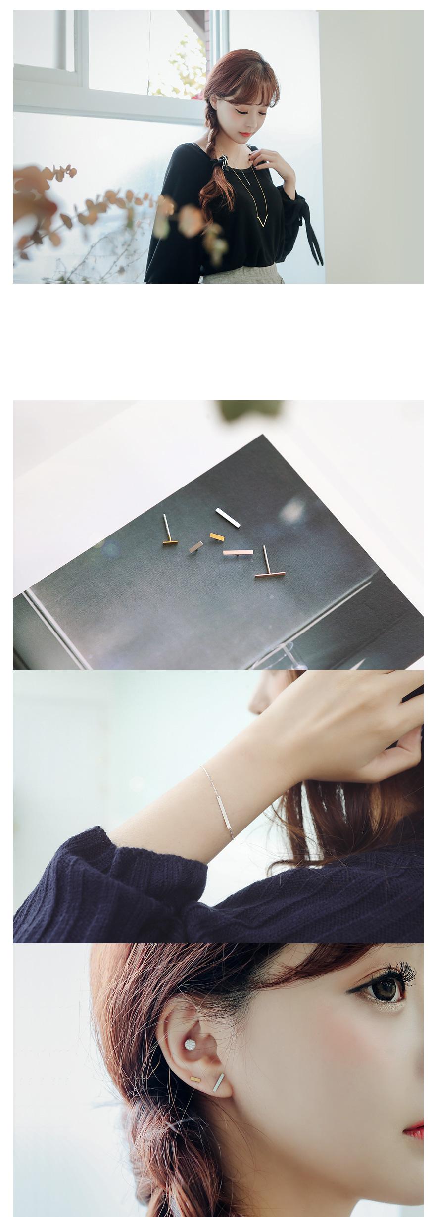 [ 4xtyle ] Double Stick Silver Necklace, 3 Colors