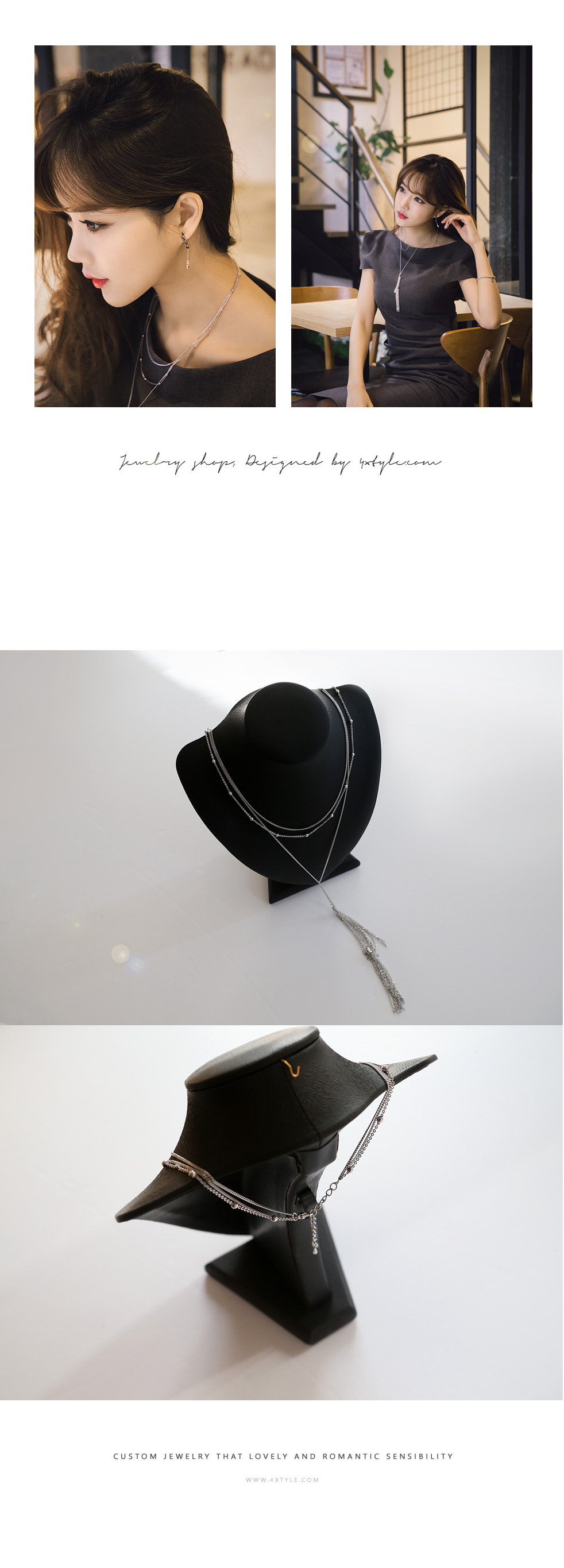 [ 4xtyle ] Metal Tassel Long Necklace, 3 Colors