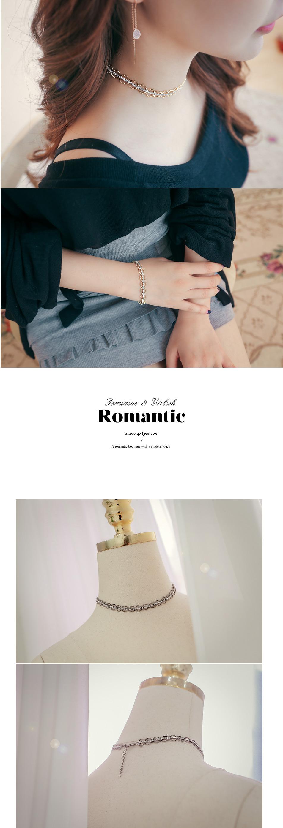 [ 4xtyle ] Metal Lace Choker Necklace, 3 Colors