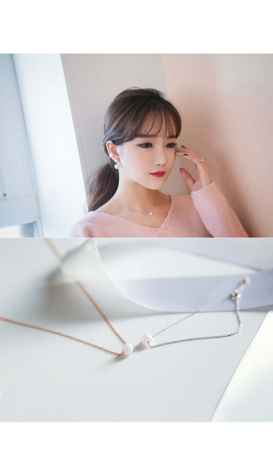 [ 4xtyle ] Opal Shadow Silver Necklace, 2 colors