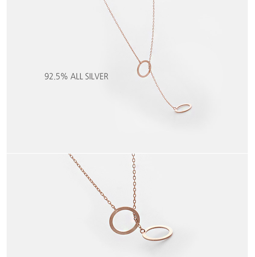 [ 4xtyle ] Mini Double Circle Silver Necklace, 3 colors