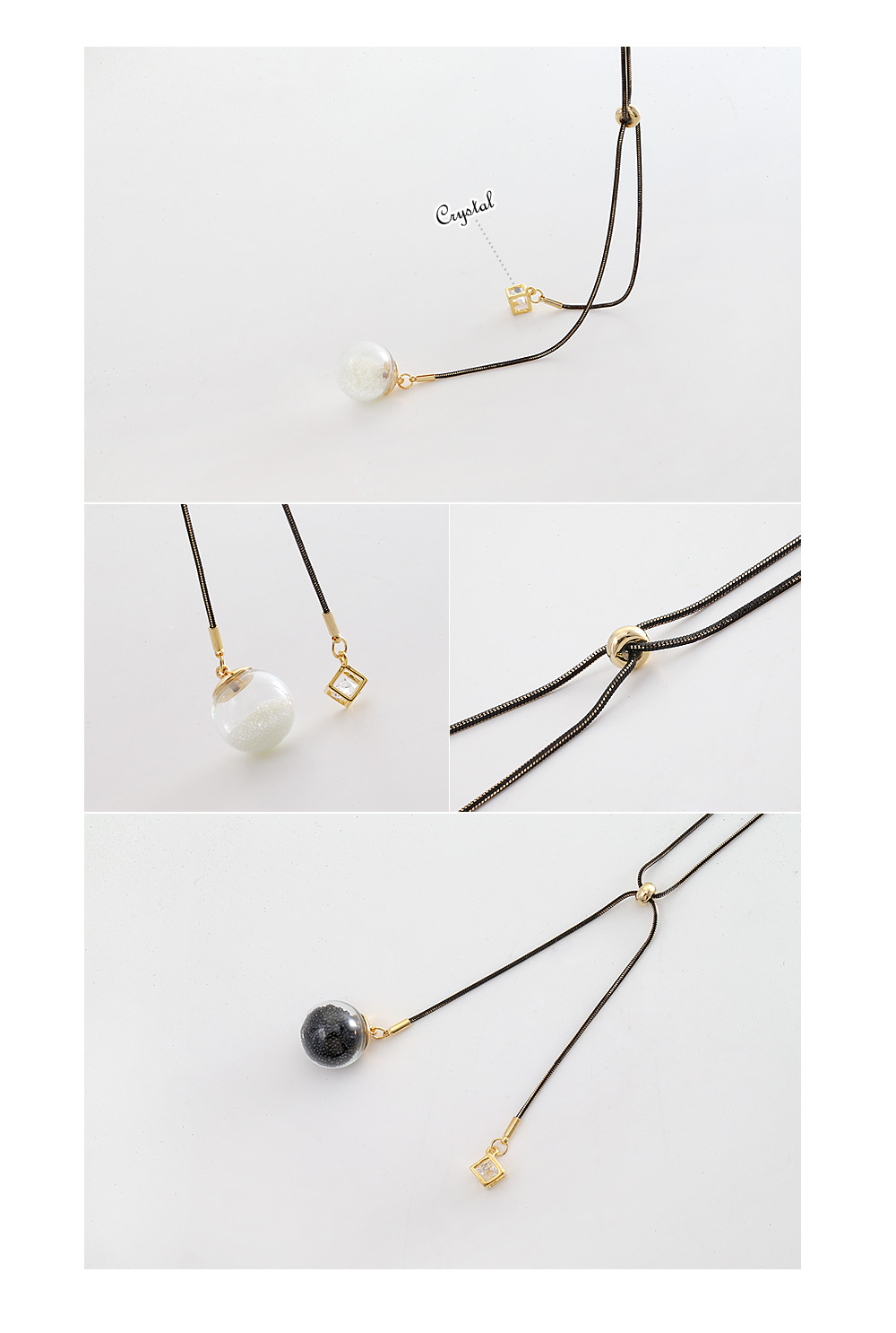 [ 4xtyle ] BEAD & CRYSTAL LONG NECKLACE