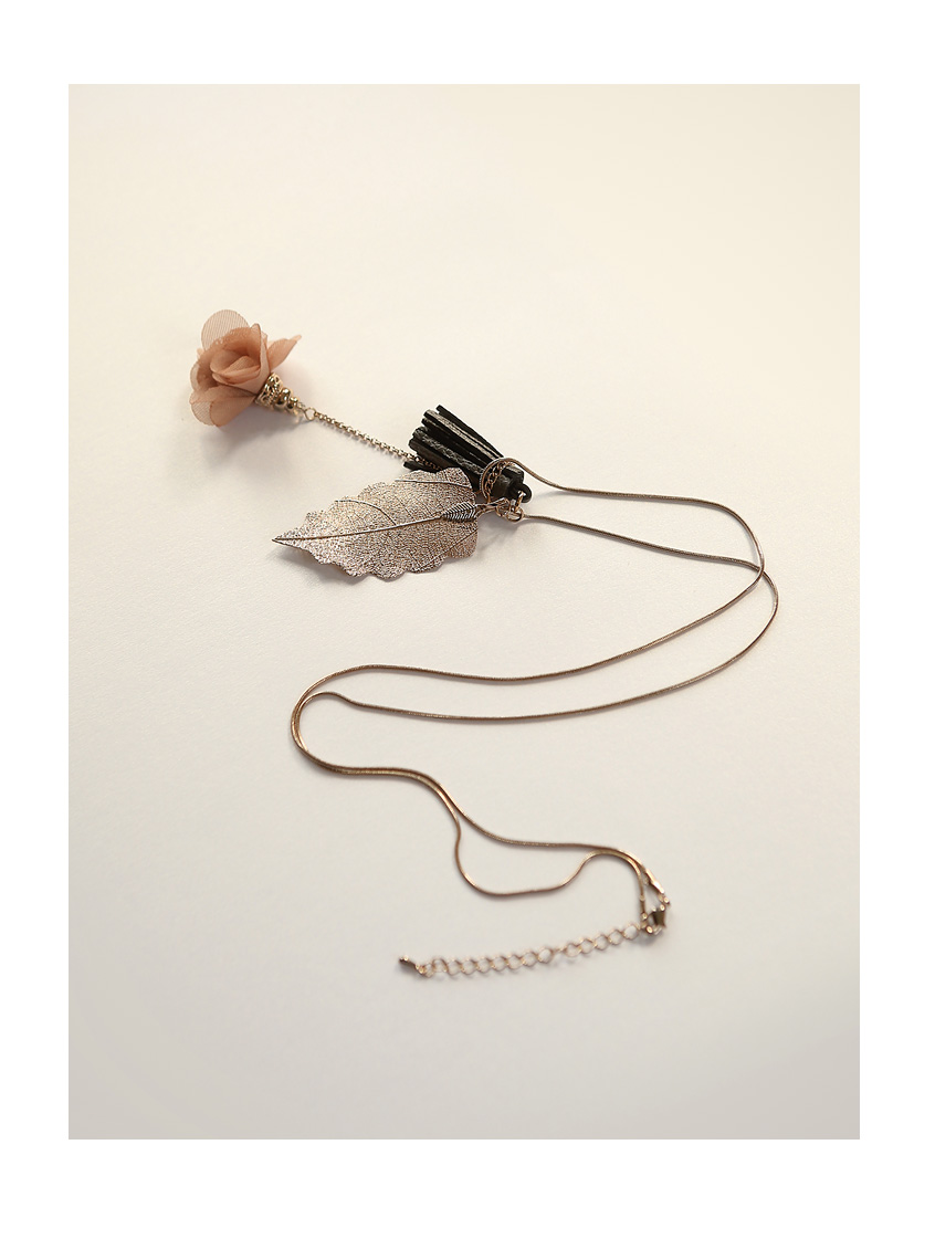 [ 4xtyle ] [HANDMADE] BLOMING CHIFFON & TASSEL NECKLACE