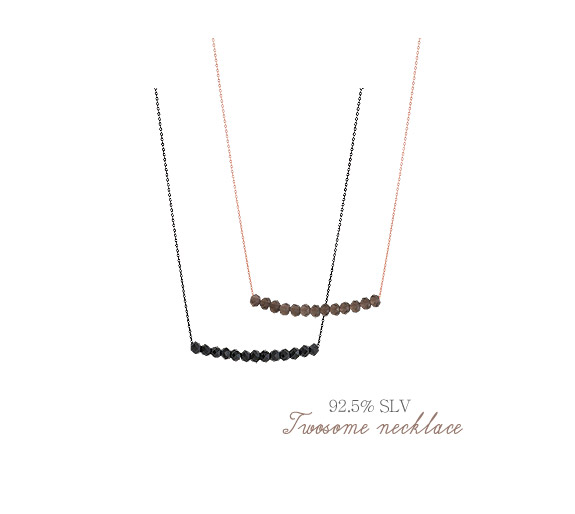 [ 4xtyle ] [SILVER] TWOSOME NECKLACE